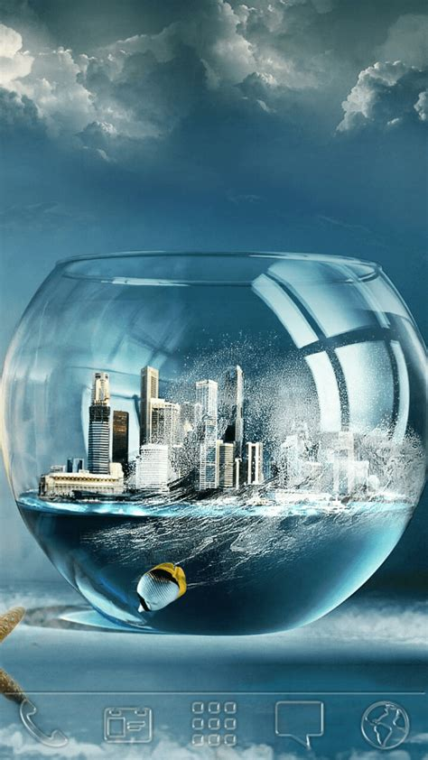 Download City & Fish On Bowl Android Theme - Android